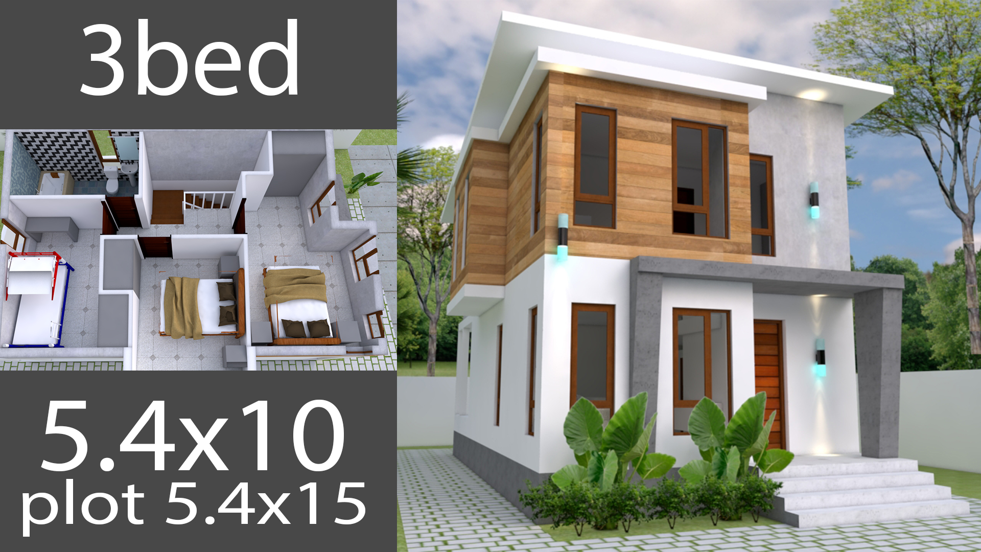 Small Home design Plan 5.4x10m with 3 Bedroom - Samphoas.Com