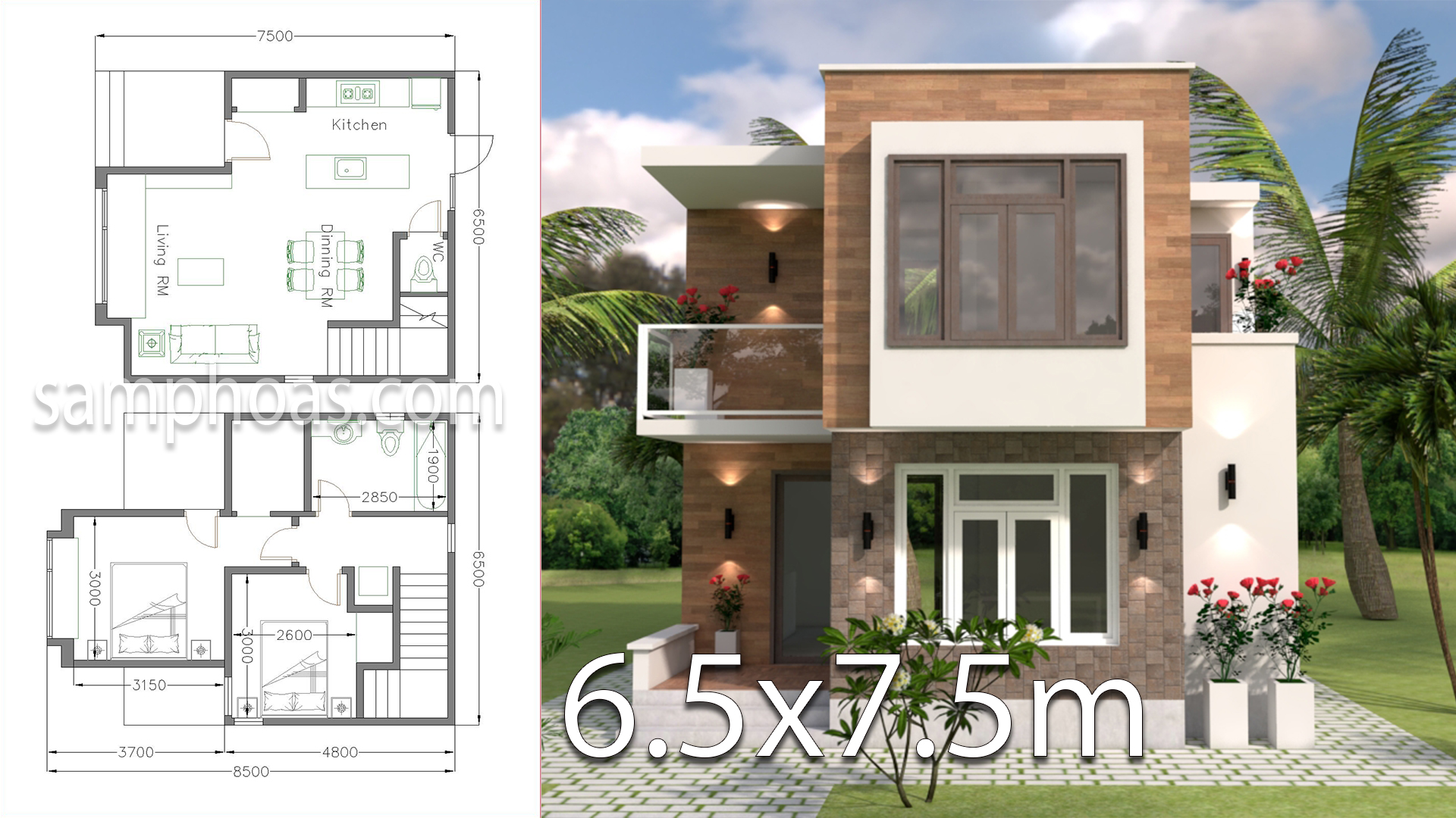 Small House Design With Full Plan 6 5x7 5m Samphoas Com
